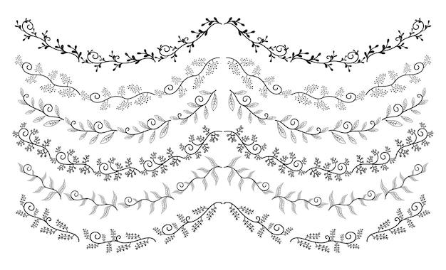 Conjunto elementos bordes dibujados mano colección ornamento remolino floral vector