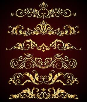 Conjunto de elementos y bordes de remolinos florales de oro real