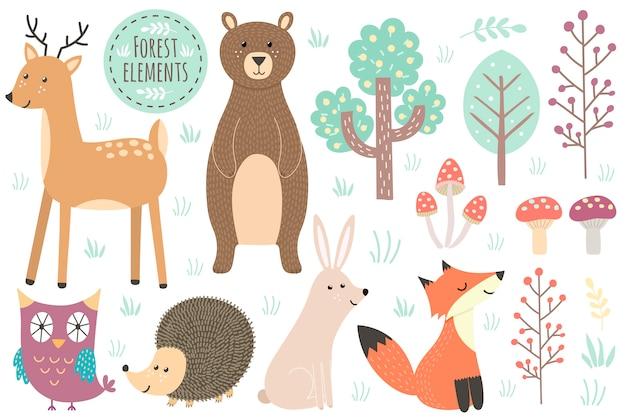 Conjunto de elementos del bosque lindo - animales y árboles.