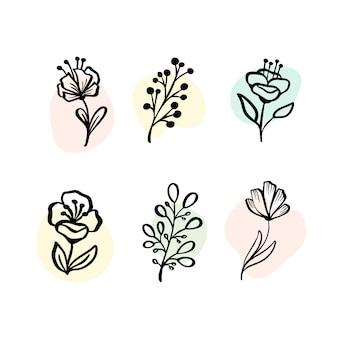 Conjunto de elementos botánicos