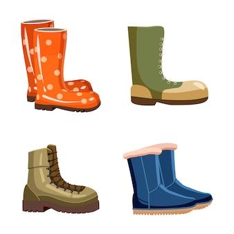 Conjunto de elementos de botas. conjunto de dibujos animados de botas