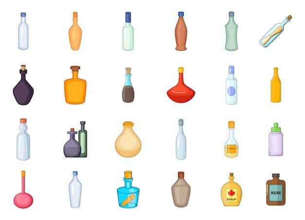 Conjunto de elementos de botella. conjunto de dibujos animados de elementos de vector de botella
