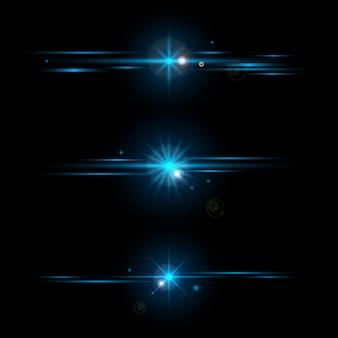 Conjunto de elementos brillantes colección de efectos de luz azul aislado
