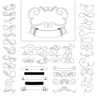 Conjunto de elementos de broche de oro dibujados a mano.