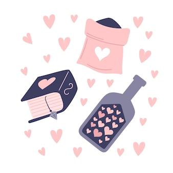 Un conjunto de elementos de brujería. atributos de un hechizo de amor. botellas de pociones, polvos mágicos, calavera enamorada. ilustración aislada sobre fondo blanco.