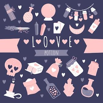Un conjunto de elementos de brujería. atributos de un hechizo de amor. botellas de pociones, polvos mágicos, calavera enamorada. ilustración sobre fondo azul oscuro