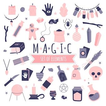 Conjunto de elementos de brujería mágica sobre fondo blanco.