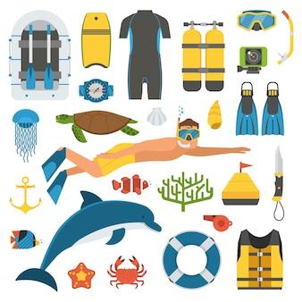 Conjunto de elementos de buceo y esnórquel que incluyen objetos de vida marina y accesorios de buceo