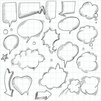 Un conjunto de elementos y burbujas de discurso cómico.