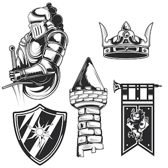 Conjunto de elementos de caballero (torre, escudo, corona, etc.) para crear sus propias insignias, logotipos, etiquetas, carteles, etc. aislado en blanco.