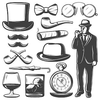 Conjunto de elementos de caballero vintage