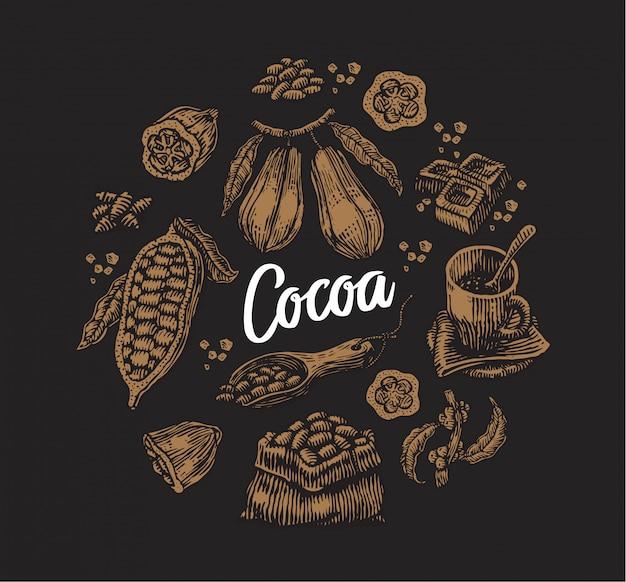 Conjunto de elementos de cacao