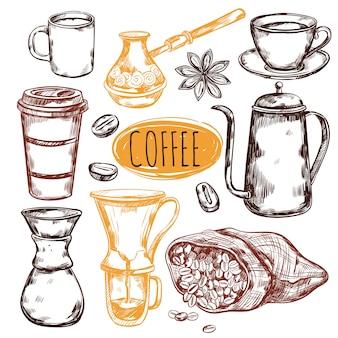 Conjunto de elementos de café de bosquejo