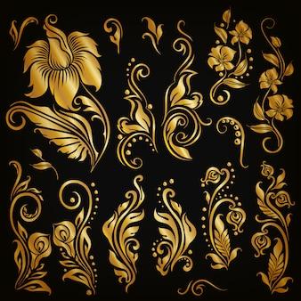 Conjunto de elementos caligráficos decorativos dibujados a mano, oro floral.