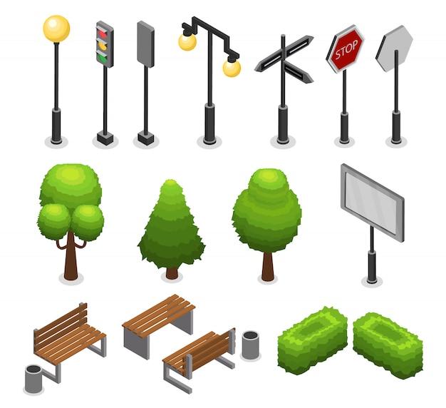 Conjunto de elementos de la calle de la ciudad