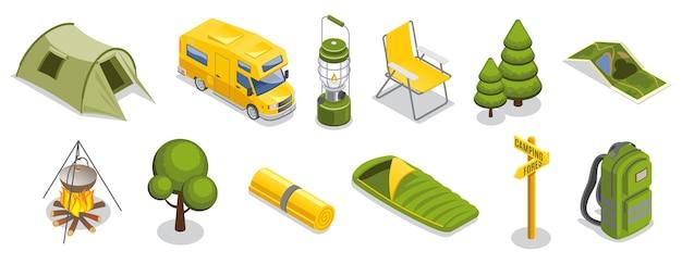 Conjunto de elementos de camping isométrico