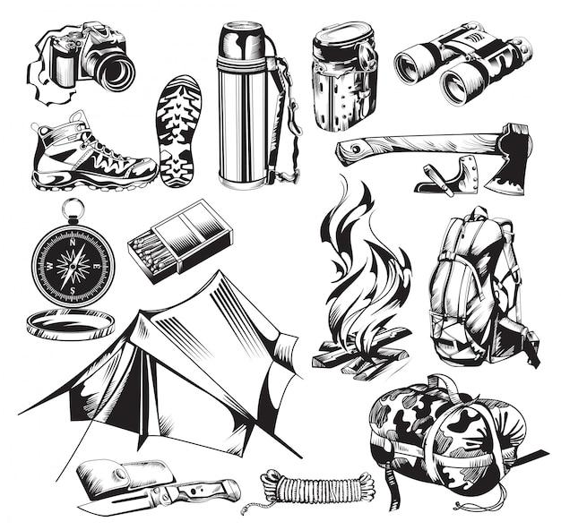 Conjunto de elementos de camping