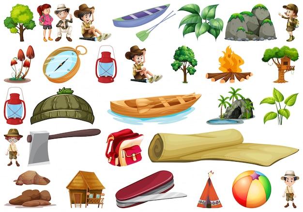 Conjunto de elementos de camping.