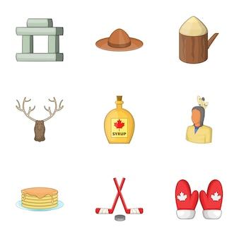 Conjunto de elementos canadienses, estilo de dibujos animados