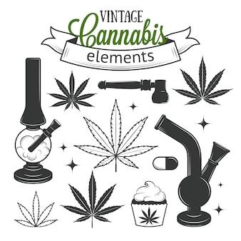 Conjunto de elementos de cannabis medicinales.
