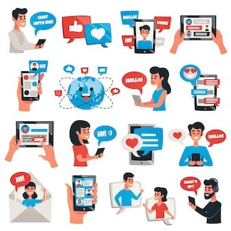 Conjunto de elementos y caracteres de dispositivos de comunicación electrónica