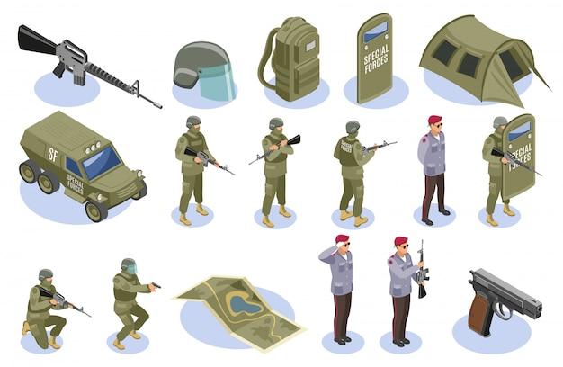 Conjunto de elementos y caracteres de fuerzas especiales militares