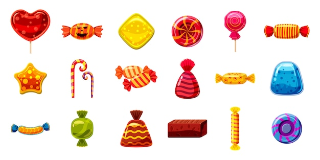 Conjunto de elementos de caramelo. conjunto de dibujos animados de dulces