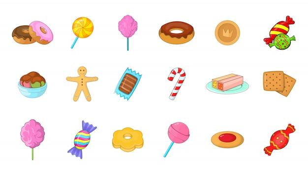 Conjunto de elementos de caramelo. conjunto de dibujos animados de elementos del vector de caramelo