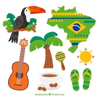 Conjunto de elementos de carnaval brasileño