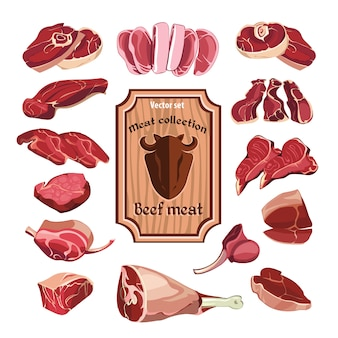 Conjunto de elementos de carne dibujados a mano