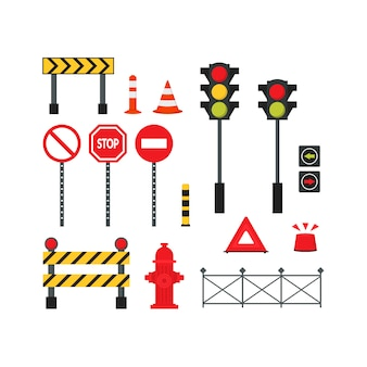 Conjunto de elementos de la carretera de la ciudad