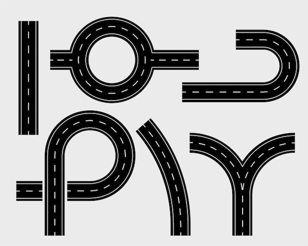 Conjunto de elementos de carretera de pistas y curva sinuosa.