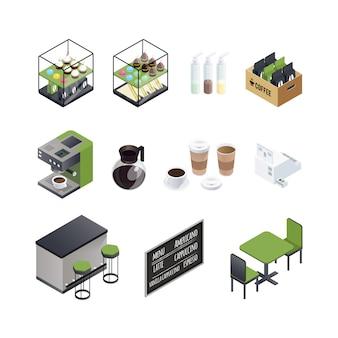 Conjunto de elementos de la casa de café