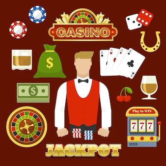 Conjunto de elementos de casino plano