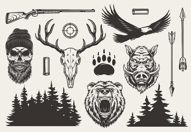 Conjunto de elementos de caza monocromo vintage