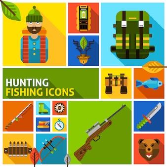 Conjunto de elementos de caza y pesca.