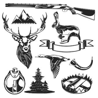 Conjunto de elementos de caza.