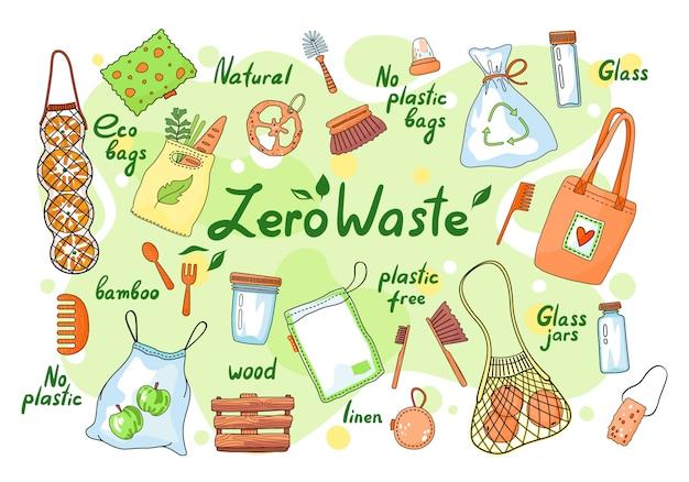 Conjunto de elementos cero residuos. garabatos sin desperdicio sin plástico, etiquetas de símbolos de campaña de clasificación de basura