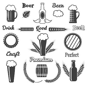Conjunto de elementos de cerveza artesanal vintage