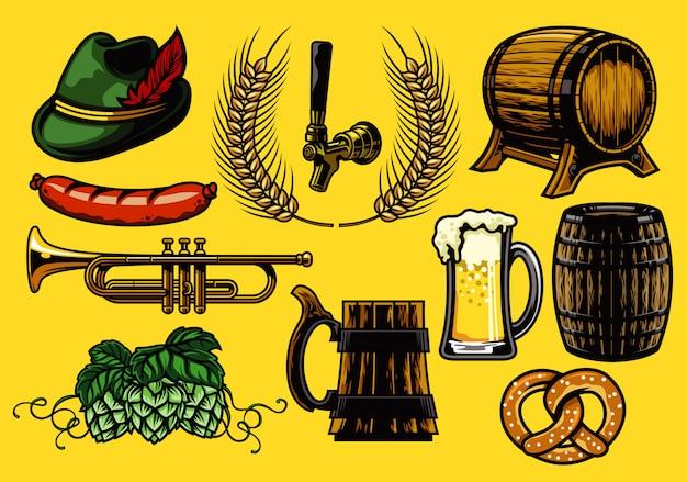 Conjunto de elementos de cerveza