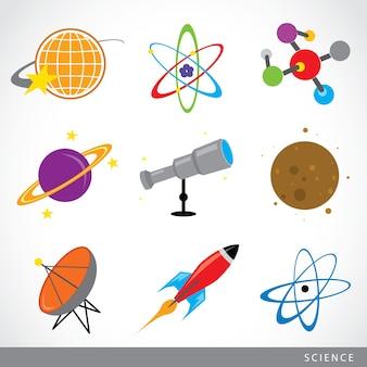 Conjunto de elementos de ciencia icono sistema solar de universo dibujos animados de planeta cohete