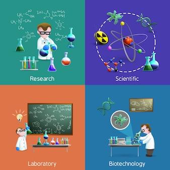 Conjunto de elementos de los científicos en el laboratorio