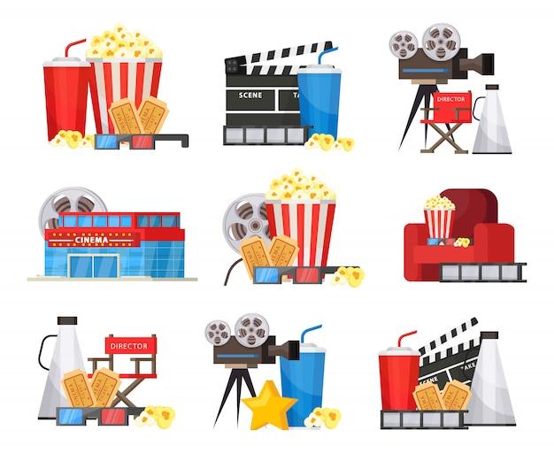 Conjunto de elementos de cine colorido