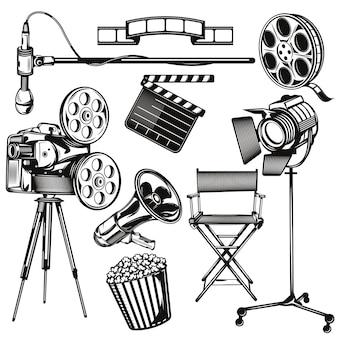Conjunto de elementos de cine.