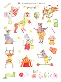 Conjunto de elementos de circo acuarela animales oso en monociclo elefante en bola caballo tigre saltando