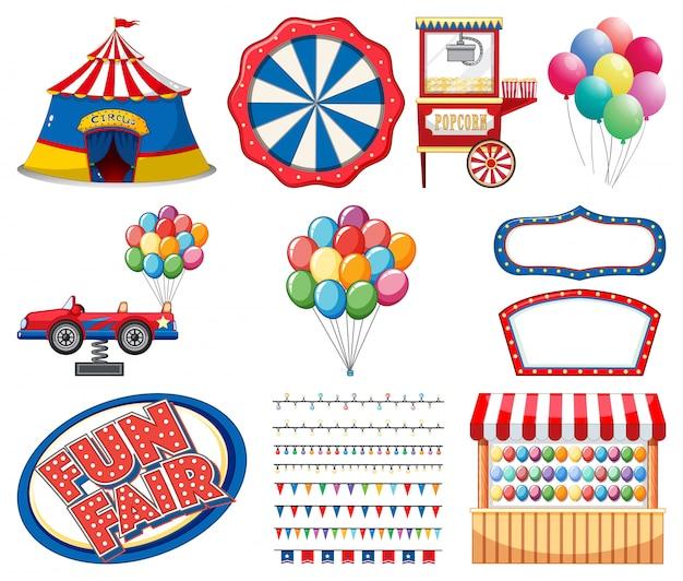 Conjunto de elementos de circo sobre fondo blanco.