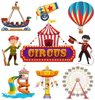 Conjunto de elementos de circo.