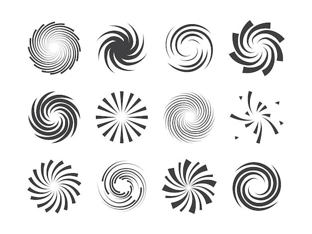 Conjunto de elementos de círculos giratorios en espiral y movimiento giratorio