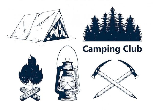 Conjunto de elementos del club de camping