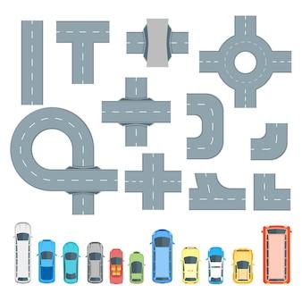 Conjunto de elementos y coches de mapa de carreteras.